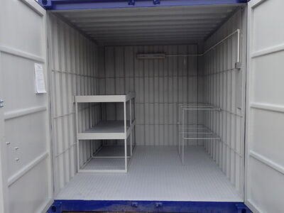 CONTAINER CONVERSION CASE STUDIES 10ft with anti slip floor, tool rack and shelving CS27154