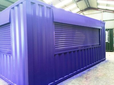 CONTAINER CONVERSION CASE STUDIES 20ft x 14ft with roller shutters CS28135