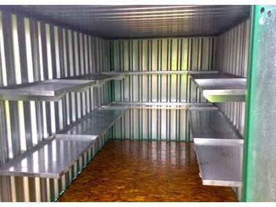 FLAT PACK CONTAINERS FOR SALE 4m with longside door and shelving
