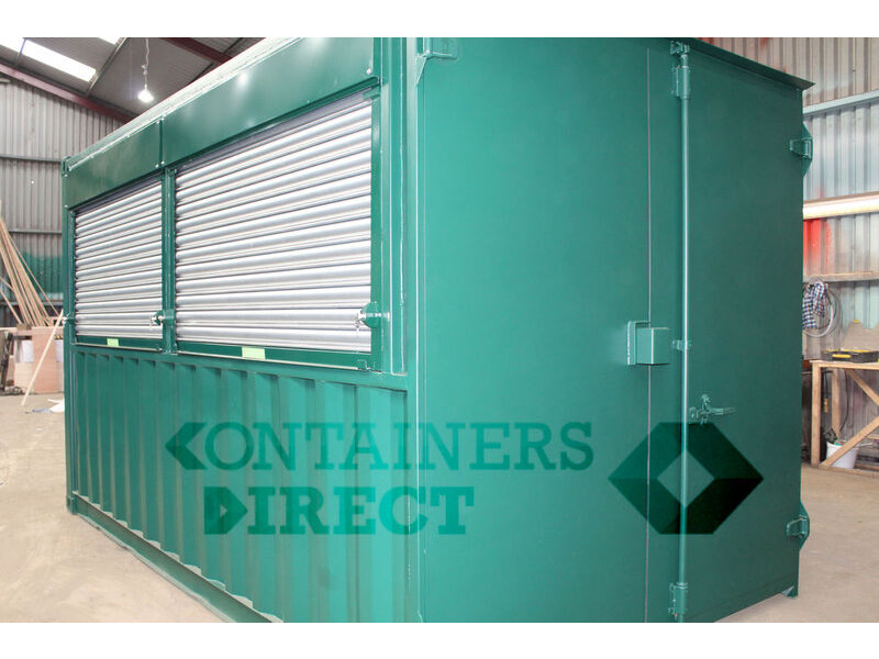 Container Conversions 14ft pop up bar with roller shutter hatch click to zoom image