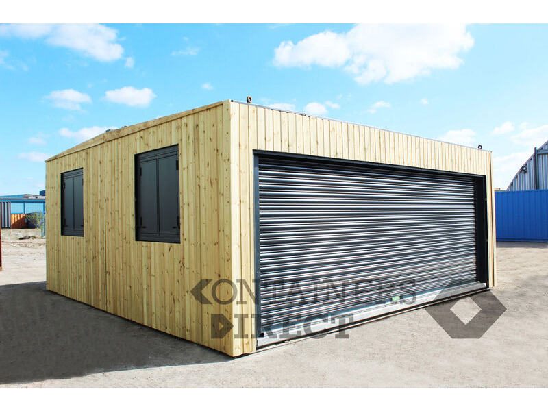 Shipping Container Conversions 20ft x 20ft CarTainer with roller shutter and cladding click to zoom image