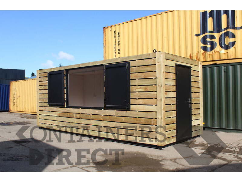 Shipping Container Conversions 20ft cladded school servery click to zoom image