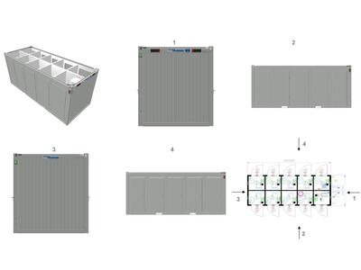 TOILET CABINS 20ft toilet cabin with 9 cubicles CTX209 click to zoom image