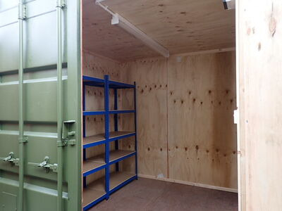 CONTAINER CONVERSION CASE STUDIES 8ft ply lined, electrics and shelving 25046