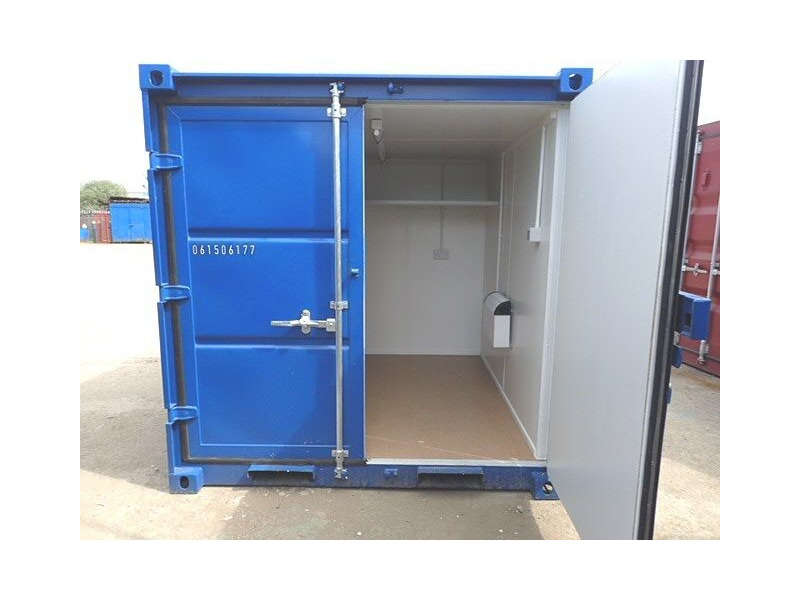 CONTAINER CONVERSION CASE STUDIES 8ft melamine lined, steel shelf and electrics CS29880 click to zoom image