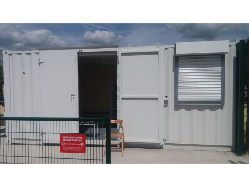 CONTAINER CONVERSION CASE STUDIES 20ft with office partition and roller shutter click to zoom image