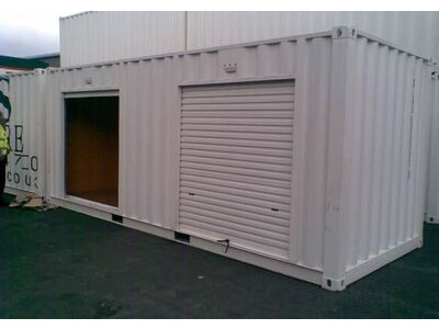 CONTAINER CONVERSION CASE STUDIES 20ft personnel door and roller shutter