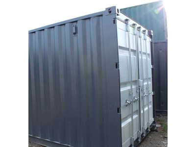 SHIPPING CONTAINERS 10ft high cube, S2 doors repainted grey HL22