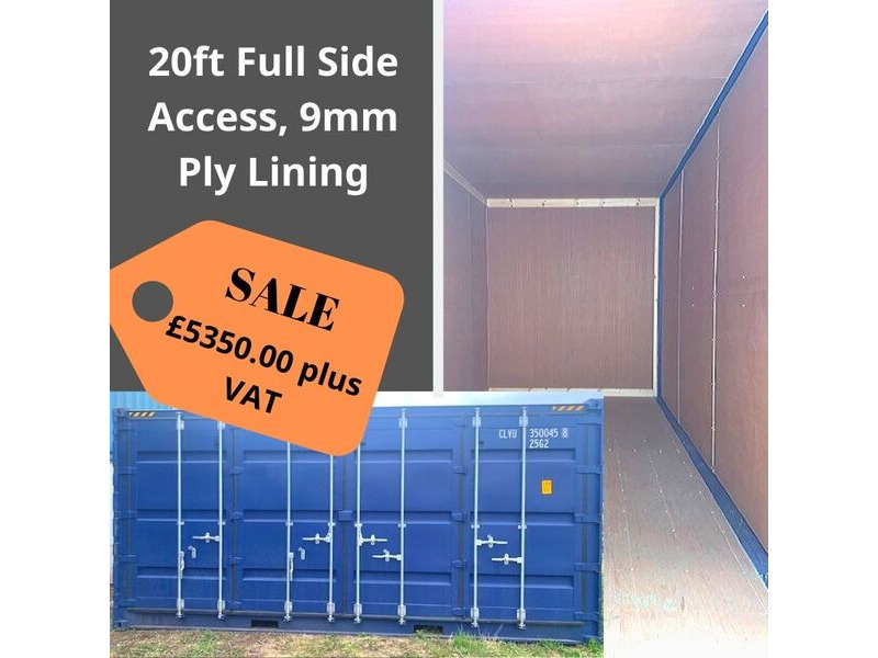 SHIPPING CONTAINERS 20ft full side access, ply lined HL28 click to zoom image